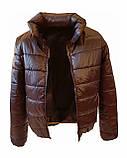 Жіноча демісезонна дута куртка з коміром стійкою і відстібними капюшоном, модель Світу, Чорнильна, фото 7
