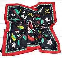 Шелковый платок Весна, 90*90 см, красный/графит