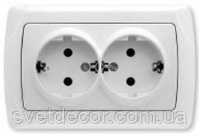 Розетка электрическая VIKO Carmen двойная с заземлением скрытой установки белая