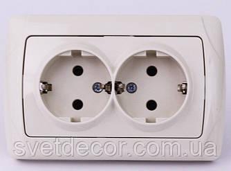 Розетка электрическая VIKO Carmen двойная с заземлением скрытой установки крем