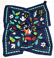 Шелковый платок Весна, 90*90 см, темно-синий