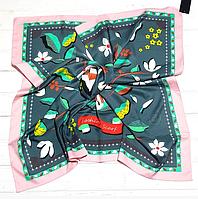 Шелковый платок Весна, 90*90 см, серый/пудра