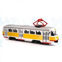 Трамвай 9708-B-UC, 28-10-6см,1:54,зв(рус),свет,двери откр,на бат-ке
