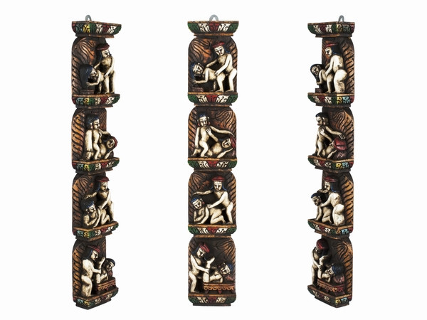 Фігурка. Дерев'яна Різьблена. Панно. Камасутра. 4 сюжету (44.5х7.7х3,5 см) Кольорові