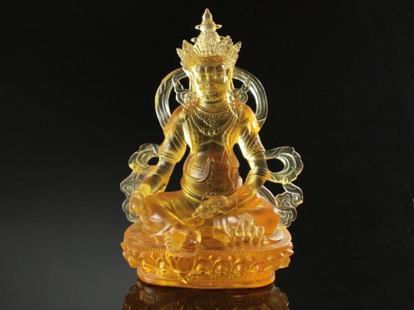 Статуя Кришталева Ліо Чи. Вайшравана (Кубера).Золота (23х15х12 см)