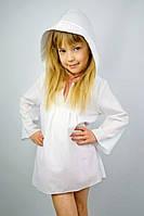 Туника с капюшоном белая (116 - 128) - пляжная одежда для детей, туники, панамы, рубашки