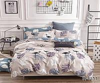 Комплект постельного белья с компаньоном Фламинго ранфорс ТМ TAG Евро / комплект постільної білизни