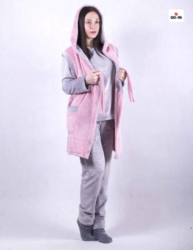 Пижама женская махровая с жилеткой теплая серая