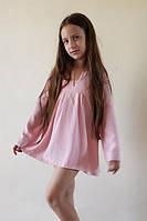 Туника с капюшоном розовая в горошек (134 - 140) - пляжная одежда для детей, туники, панамы, рубашки