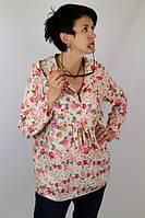 """Туника из штапеля """"Розы"""" женская (52 размер) - пляжная одежда для детей, туники, панамы, рубашки"""