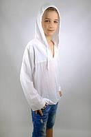 Рубашка белая батистовая для мальчика (158 - 164) - пляжная одежда для детей, туники, панамы, рубашки