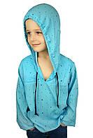 """Рубашка """"Якоря"""" голубая  (116-128) - пляжная одежда для детей, туники, панамы, рубашки"""