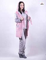 Пижама женская махровая с жилеткой теплая серая 42-50 р.