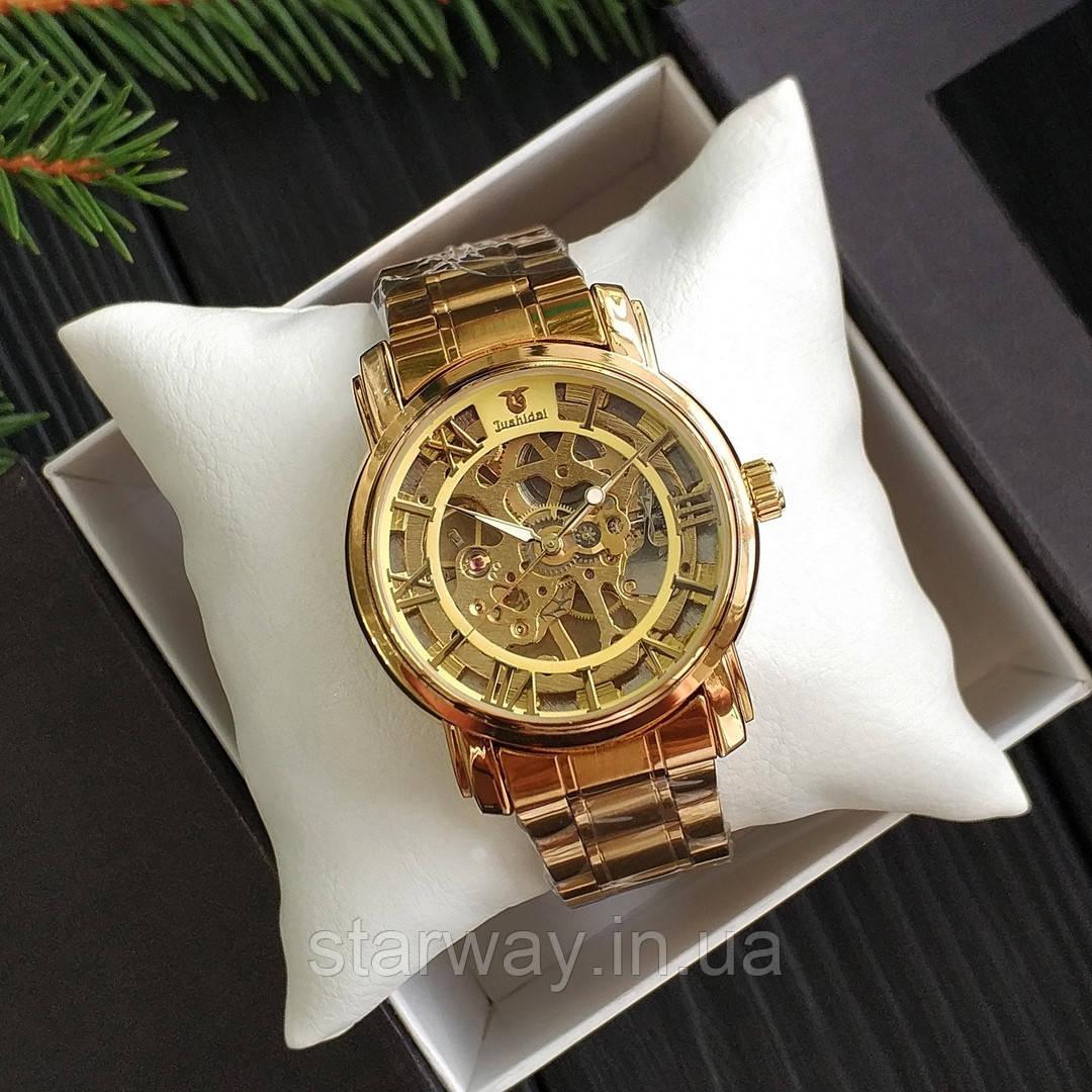 Наручные стильные часы Skeleton Metal Gold