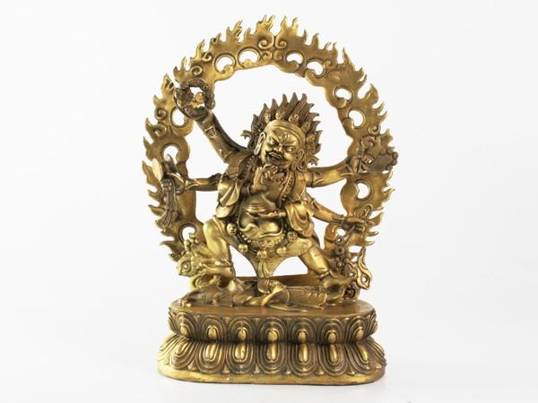 Статуя. Бронза. Махакала Шабхуджа (6-ти рукий) 24х15х7,5 см