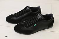 Кроссовки мужские, кожаные, черные, с перфорацией
