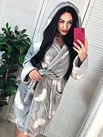 Серый женский короткий махровый халат, фото 1