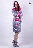 Халат махровый женский c сапожками с капюшоном короткий р.42-52