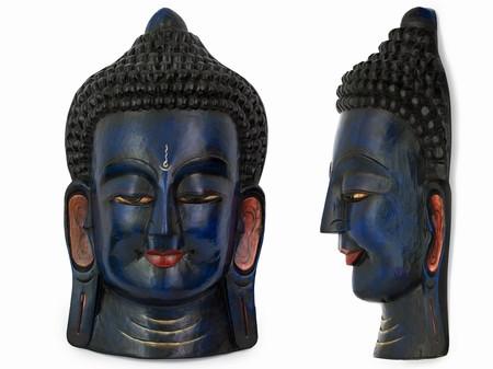 Маска Этническая. Непал. Дерево. Будда (55х28х16 см) Синий