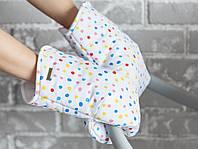 Муфта варежки для коляски, Горошек, фото 1