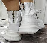 Кроссовки молодежные из натуральной кожи белого цвета от производителя модель НИ-030, фото 2