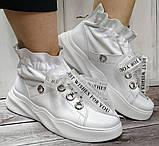 Кроссовки молодежные из натуральной кожи белого цвета от производителя модель НИ-030, фото 3
