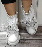 Кроссовки молодежные из натуральной кожи белого цвета от производителя модель НИ-030, фото 4