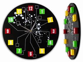 Часы Настенные Фигурные (34х34х5 см) ДомАрт. Молекула. Чёрный