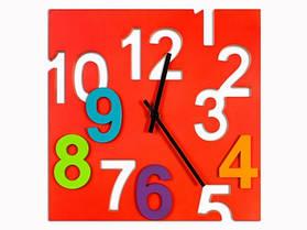 Часы Настенные Фигурные (29х29х3 см) ДомАрт. Квадрат. Красный