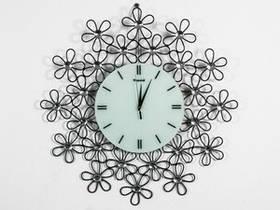 Часы Настенные Фигурные (60х60х5 см) Металл. Хрусталь. Fleur. Цветок