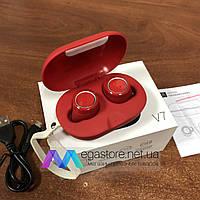 Беспроводные bluetooth наушники гарнитура Gorsun V7 TWS с кейсом для подзарядки спортивные красные