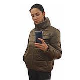 Стильна молодіжна дута куртка для дівчат на весну і осінь з капюшоном і коміром стійкою, Бронзова., фото 6