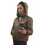 Стильна молодіжна дута куртка для дівчат на весну і осінь з капюшоном і коміром стійкою, Бронзова., фото 7