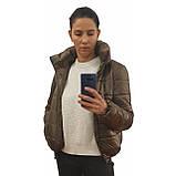 Стильна молодіжна дута куртка для дівчат на весну і осінь з капюшоном і коміром стійкою, Бронзова., фото 8