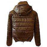 Стильна молодіжна дута куртка для дівчат на весну і осінь з капюшоном і коміром стійкою, Бронзова., фото 9