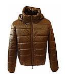 Стильна молодіжна дута куртка для дівчат на весну і осінь з капюшоном і коміром стійкою, Бронзова., фото 10