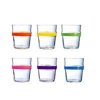 "Стаканы стеклянные 6 шт с цветным ободком "" ACROBATE RAINBOW """