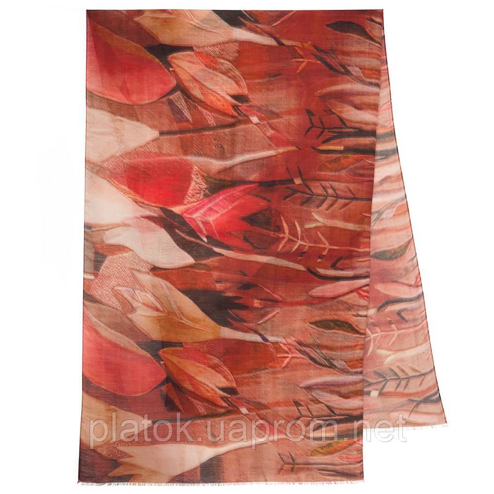 Палантин шерстяной 10496-4, павлопосадский шарф-палантин шерстяной (разреженная шерсть) с осыпкой