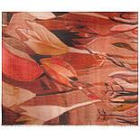 Палантин шерстяной 10496-4, павлопосадский шарф-палантин шерстяной (разреженная шерсть) с осыпкой, фото 2