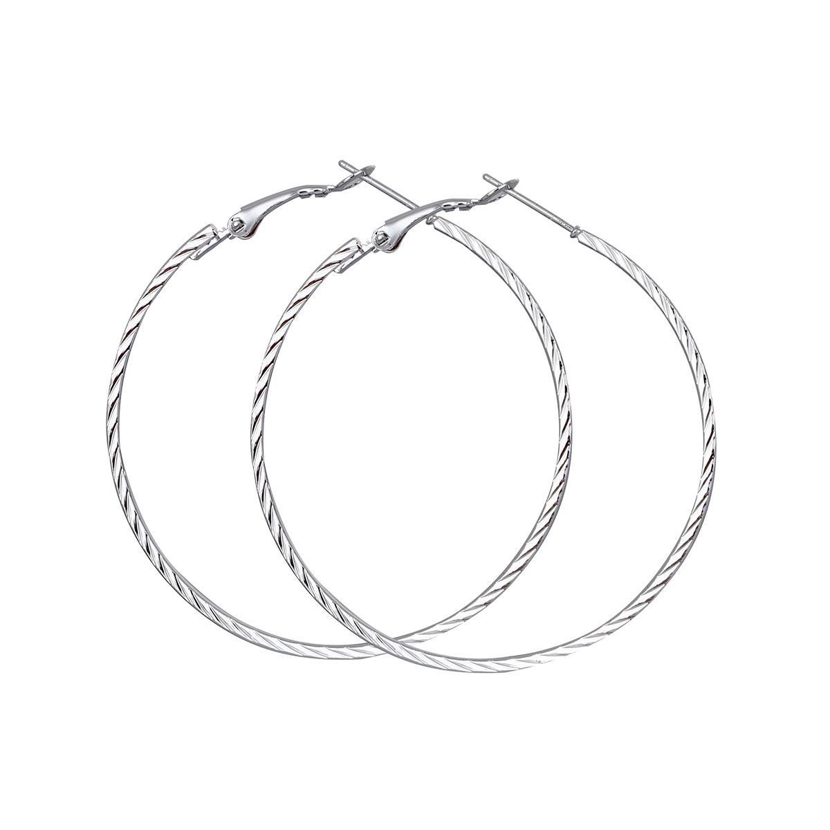 Сережки кільця замком, З насічками, Металевий сплав, Колір: метал, 53 мм x 50 мм, ціна за пару