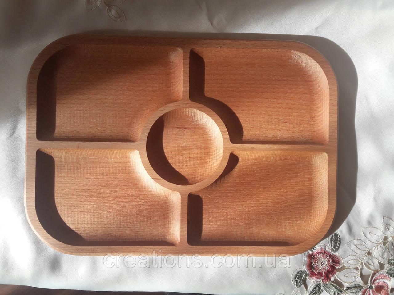 Менажница на 5 секций 37х26 см. деревянная тарелка Бук