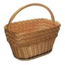 Плетеная корзина Прованс из очищенной лозы: длина 45, ширина 28, высота борта 23, высота с ручкой 38