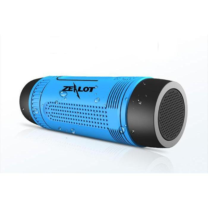 Портативная Bluetooth колонка Zealot S1 с функцией power bank и фонариком Синяя