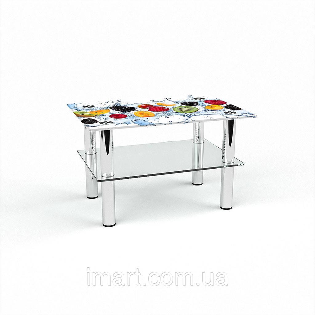 Журнальный стол прямоугольный с полкой Berry Mix стеклянный