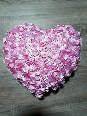 "Декоративная подушка ""Сердечко в розочках"" (розовое), фото 2"