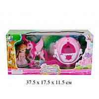 Карета с лошадью,с куклой мини, р-р игрушки-29*7.5*15 см, р-р куклы-11см, в кор 37*11*17,5 см /36/