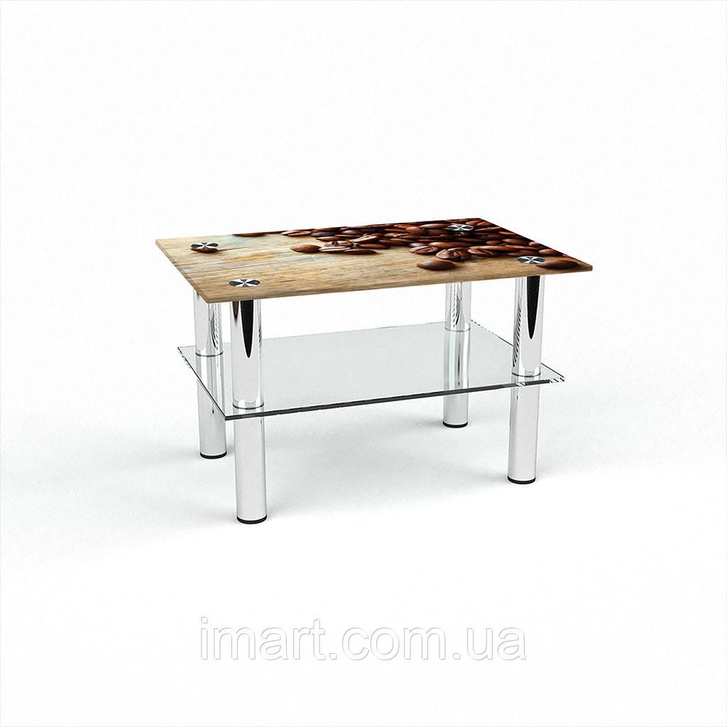 Журнальный стол прямоугольный с полкой Coffee стеклянный