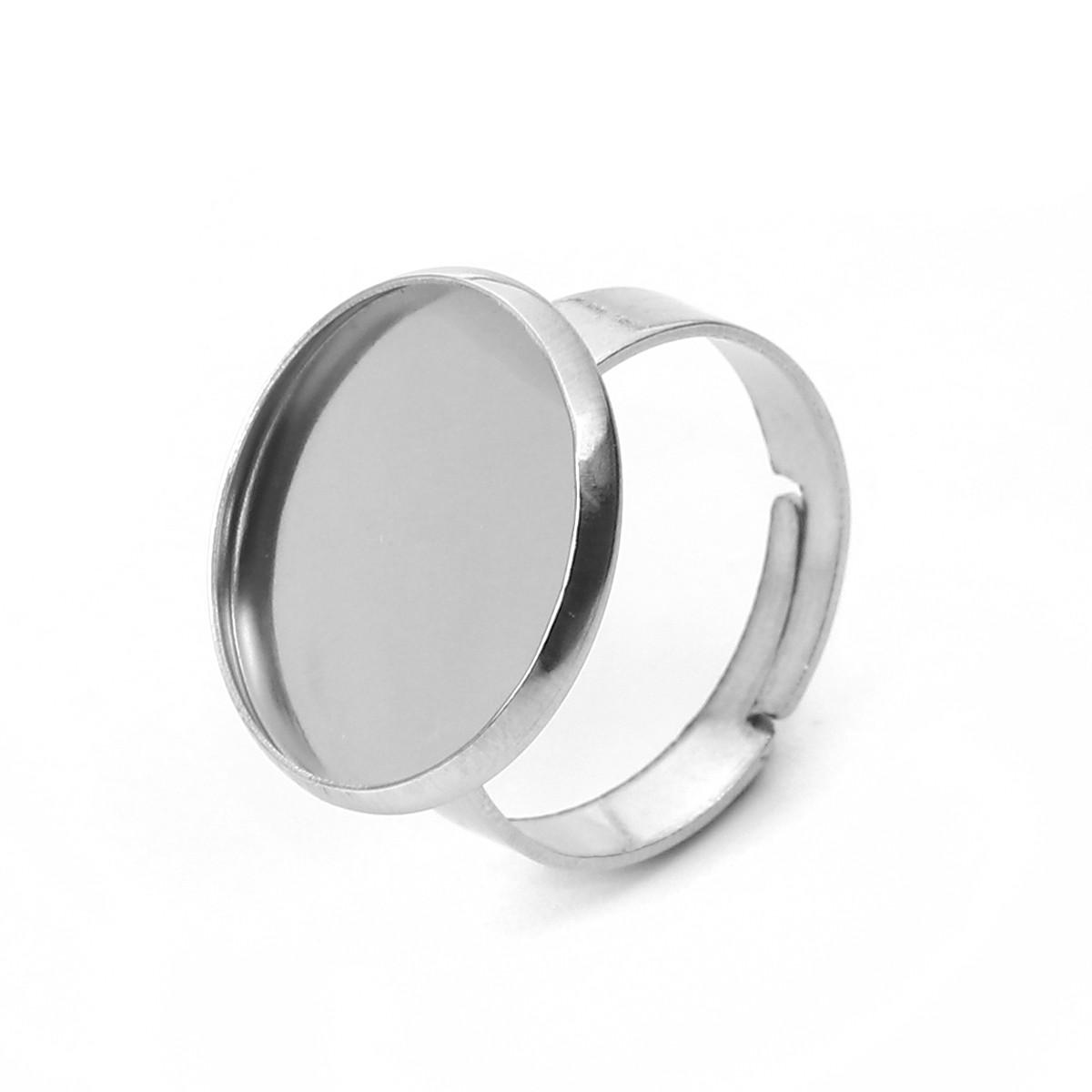 Основа для кільця, Регульована, Нержавіюча сталь, Колір: Сріблястий тон, Розмір 16.7 мм (Під вставку 16 мм)