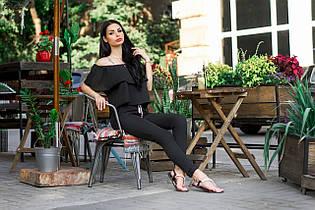Брючный черный костюм (блузка и брюки, цвет - черный, ткань - габардин) Размер S, M, L (розница и опт)