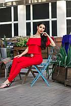 Брючный яркий костюм (блузка и брюки, цвет - красный, ткань - габардин) Размер S, M, L (розница и опт)